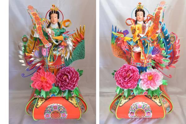 这两尊栩栩如生的护法仙女,也是卢观杰精心制作之一。