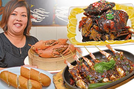 B 女海鲜馆主要是卖螃蟹,很多种口味任你选择。