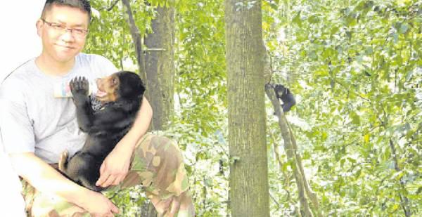 """黄修德17年来每天都在林里追踪熊迹,堪称""""熊爸爸,""""他也因为倾情救助马来熊而名声大噪。"""
