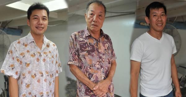 钟韵石师傅(中)已无法应付众多病人,幸好两名儿子钟剑青(左)与钟剑鸣(右)获得其真传,才能继续造福人群。