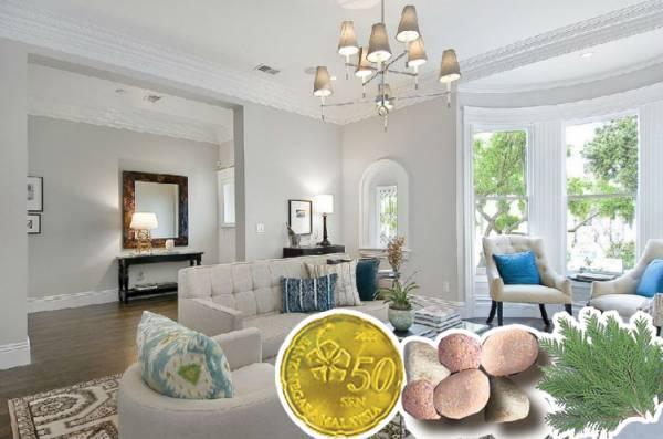 先将6枚50仙金币放在屋外一夜后,隔天与柏叶2片及6粒小石头一起煮沸后装进红包内,放置于客厅隐秘处,就能好运一整年。