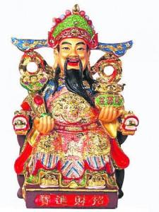 财神属神佛级,应向寺庙请供拜。