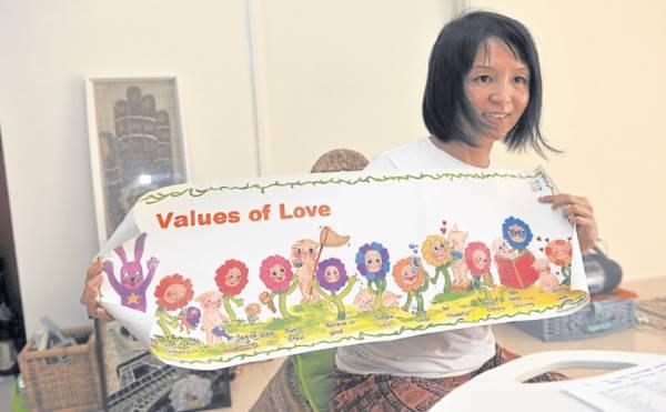 世慧向记者透露,他们会透过讲故事的方式来让孩子了解10 个爱的价值观。