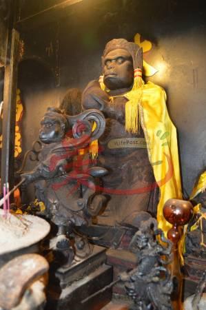 大圣宫里最大的齐天大圣,但经过多年的香火熏陶,原本色彩缤纷的齐天大圣变得乌黑光泽,更添一份神秘和庄严。