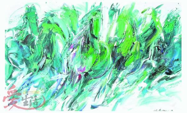 绿马踏水而来,飒飒而过。
