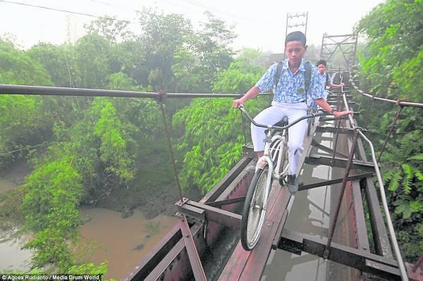 破烂吊桥贯穿丛林,大部分木板已脱落。两年多来,孩子们就这样冒着生命过桥去学校。