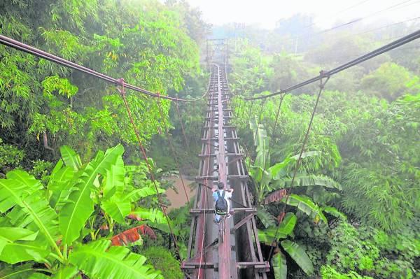 """这座吊桥架在一条横穿浓密丛林的河流上,这张孩子骑脚车过吊桥的照片,被形容为""""世界上最危险""""的上学路。"""