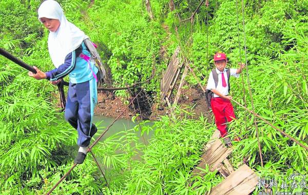 一场暴雨导致吊桥崩塌,只剩下几条钢索,有一群孩子每天冒着危险,走过钢索上学去。