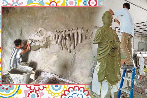 许智维利用洋灰雕塑栩栩如生的考古时代浮雕。