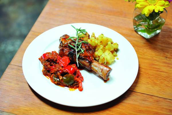 Glazed Lamb Shank W. RataTouille+Rosemary's Taters