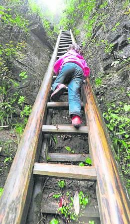 不管大人小孩,要去小镇,就是这条天梯捷径最快。
