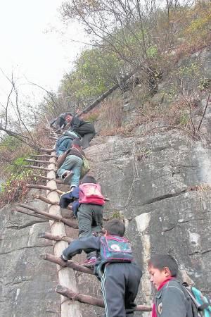 山区的孩子每天就是这样攀爬垂直天梯去上学,可以说是在冒着生命危险去读书。