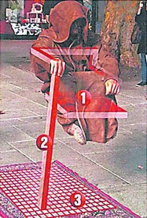 """有网友拆穿,""""坚离地""""打坐其实只是安坐单脚铁架上,并用竹筒和衣袖遮盖铁枝"""