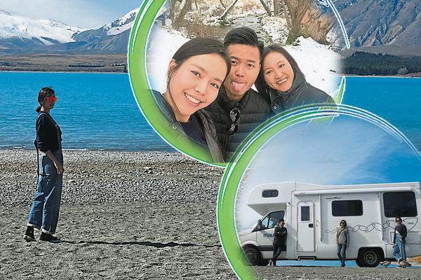林绿与家人在前往Lake Wanaka的路途中更遇上下雪,三个还跑到雪地去玩乐一番。