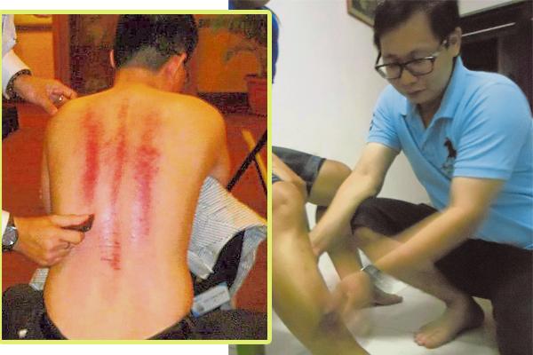 赖凯升示范刮腿部,不仅可以促进血液循环,也能防抽筋。