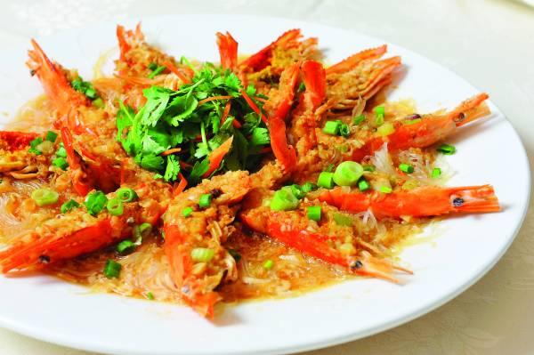 金银蒜蒸生虾