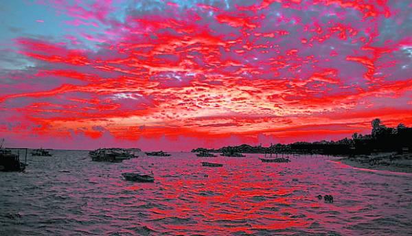 到了傍晚,太阳仿佛燃烧着大地,是个从来没有看过的大自然景观。