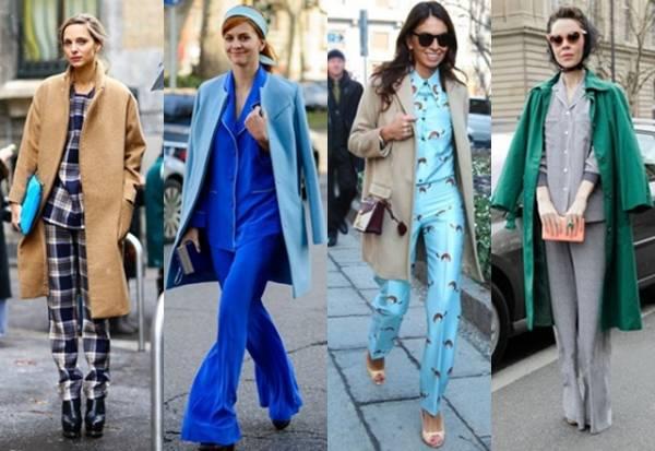 外国街拍明星穿着睡衣,个个时尚又大气,有的睡衣设计看起来一点都不邋遢,反而有套装的利落。