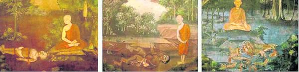 一些有数百年历史的壁画和手稿,描绘了人们在尸体旁边冥想的景像,有的尸体布满蛆虫,有的一分为二,还有的被乌鸦啄食。