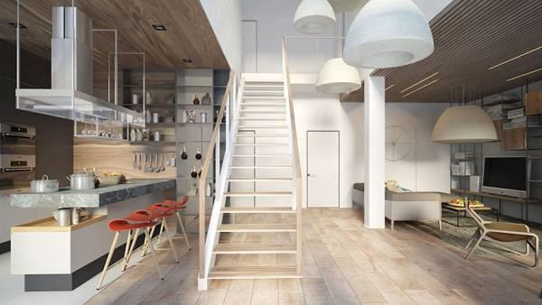 楼梯忌讳是将其设置在客厅的中心,会让居住在其中的人觉得不适。