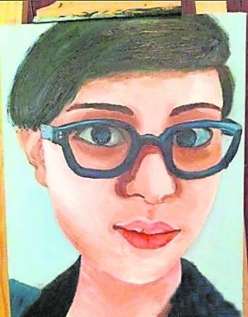 孙俪独特的自画像画风。