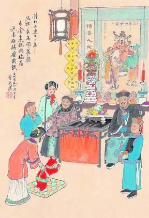 """古代的中国,长辈给儿孙们的压岁钱是一种不能 流通的钱币,视为吉祥物,给小辈们随身携带,有""""压崇除邪保平安""""的意思。据说,""""崇""""是一种妖怪, 于除夕夜出来干扰小孩。"""
