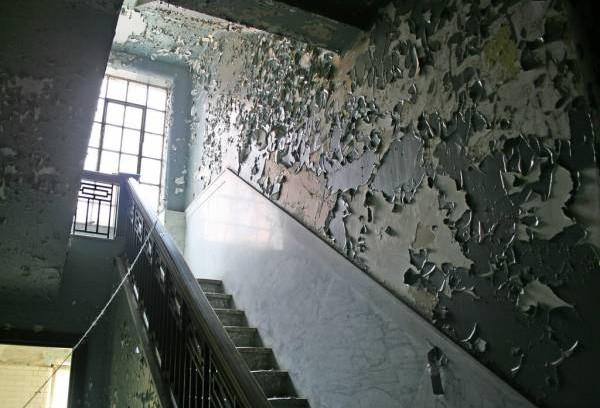 """据说,曾有两个探险者在精神病院的楼梯,看到一个穿着黑色大衣,脸上流血的""""女人""""……"""