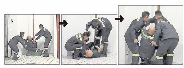 """练习消防滑梯时,乐嘉的""""蛋蛋""""重撞地破碎。"""