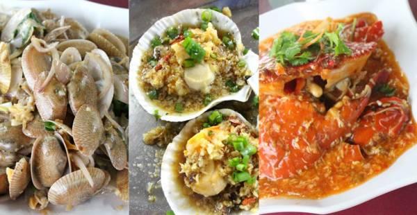 (从左到右)姜蒜啦啦、蒜蓉扇贝、辣子螃蟹