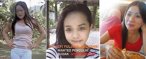 林亚财怀疑印尼情人Linda(右一)与其同乡 Evi(左一)及Ena(左二)同谋拐走儿子锦明。