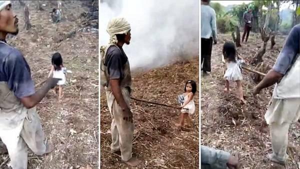 小珍妮是爸爸的盲杖,天天赤脚牵着爸爸走过浓浓烟雾的林里采椰子。