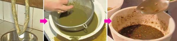 从牛只的大肠中段,取出初步消化又相对干净的牛屎,这就是牛屎酱料的来源。