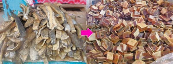 未去毛和已处理过的牛皮,是当地人的零食,在街市很容易买到。