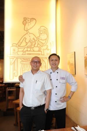 """◆""""紫藤茶原""""提供的每一种食物,都是经过经理Simon李钰旻(左)与主厨锺伟明精心调配。"""