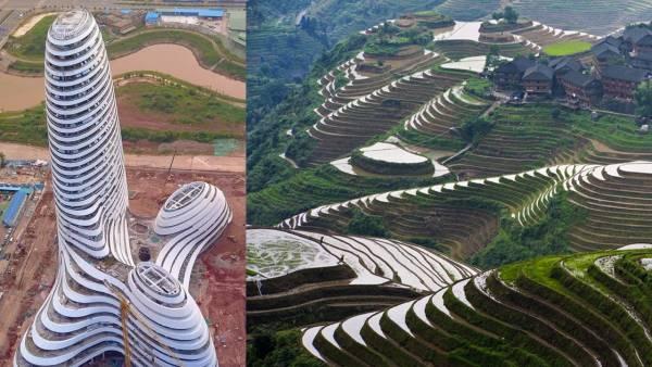 当许多人取笑建筑时,有当地媒体辩护指有关设计的灵感主要源自广西和云南省的梯田景观。
