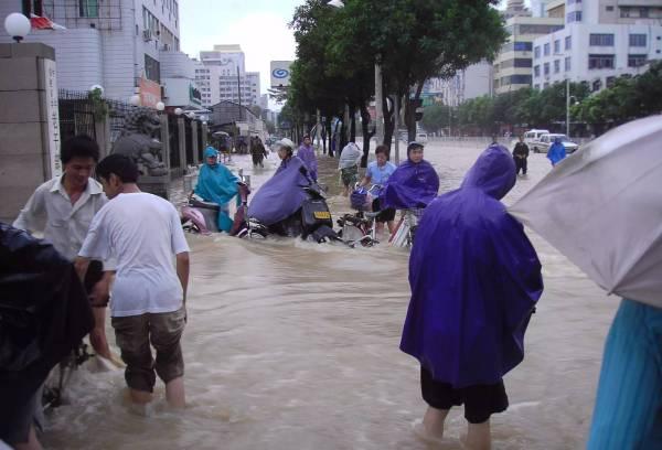 """2005年8月""""泰利""""台风给福州造成大水灾。"""