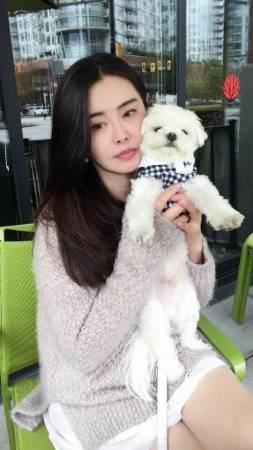 抱着宠物狗的王祖贤,且看得出来没怎么修图,皮肤保养的水嫩光滑,一双玉腿白到发光,一点都不显老。