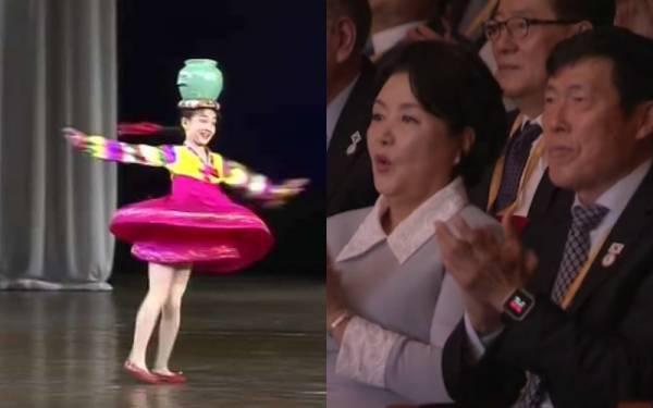 高难度的40秒高速旋转,让韩国第一夫人金正淑看得十分惊叹,还不停拍手呢!