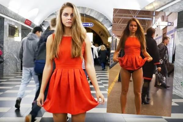 不说不知道,去年底她就曾在圣彼得堡地铁月台快闪自揭裙底,在众目睽睽下展示内裤,以控诉当地社会的偷拍裙底行为,并要求当局将偷拍刑事化。
