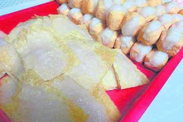手工制作的腐竹及鱼丸酿豆腐。