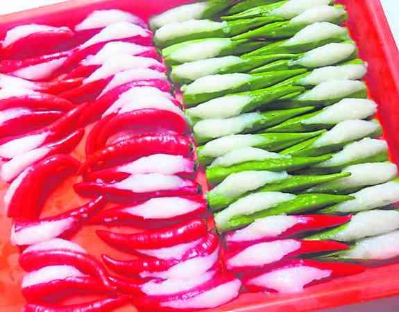 广受老饕喜爱的辣椒酿豆腐。