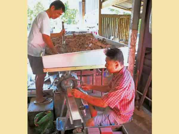 切成砖块形状的峇拉煎进行最后包装工序。