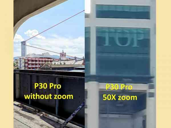 """第一张,光大大楼就在前方远 处,可经过放大远处景物特写的功能,连光大楼上的Top字眼都可以清楚看见,这根本是""""望远镜""""。"""