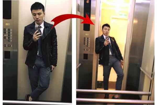 台湾艺人靠着电梯门自拍,没想到下一秒电梯门一开,他脚下重心失去平衡,差点跌倒,所幸没有受伤。