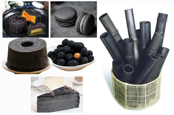 """""""竹炭食品""""已经出现多年,因为竹炭被赋予了""""排毒养颜""""之类时髦的功效,也就吸引了许多""""黑色食品爱好者""""。"""