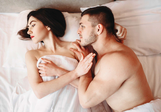 Couple have problems in bed, failure sex, no sexual desire, quarrel. Bad intimate life, impotence