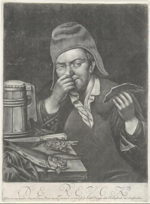 科学家们希望,最终完成的气味百科全书里可以不只有死板的气味分子、产生方式等描述,也能加入描述特定气味对当时人们的意义、出现环境等资讯。图为荷兰国家博物馆(Rijksmuseum Amsterdam)内一幅作者不详的插画〈气味〉(De reuk)。
