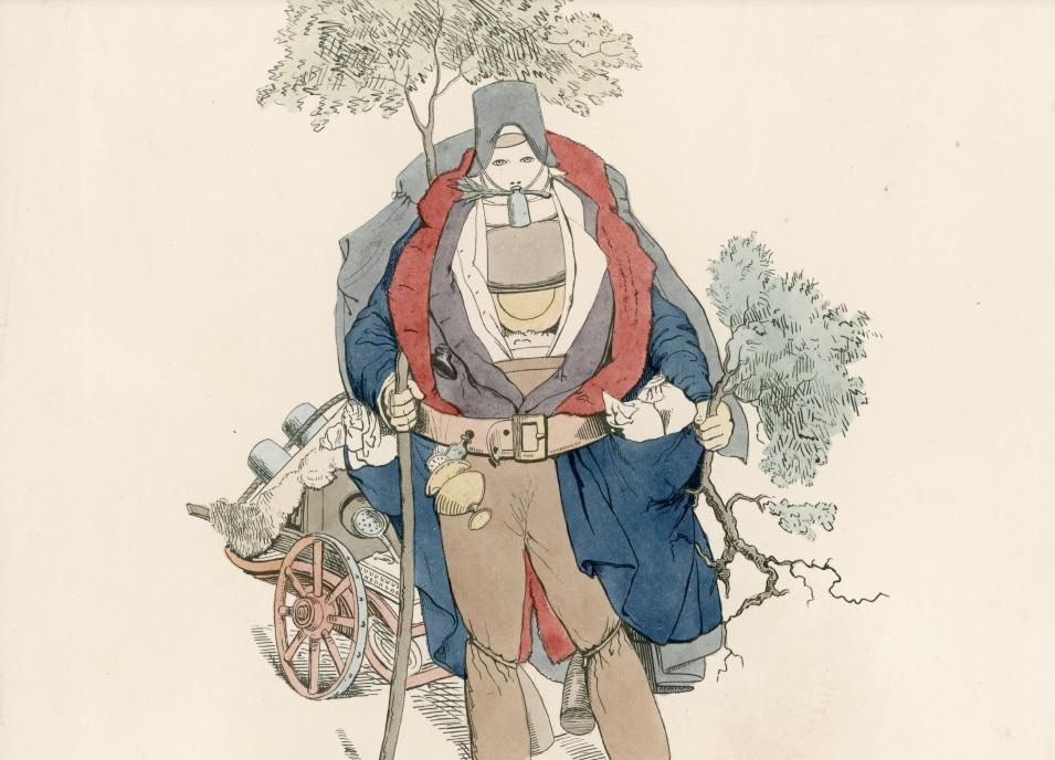 """如果当时还有瘟疫肆虐,人们会携带各种不同的草药以预防疾病上身。在 19世纪的英国,就有人曾发明了一套""""霍乱防疫装""""(Cholera Preventive Costume)供大家参考。"""