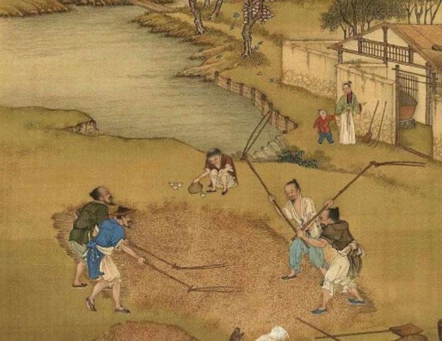 在古代,平民百姓终日面朝黄土背朝天,天天都在劳动,并无庆贺。