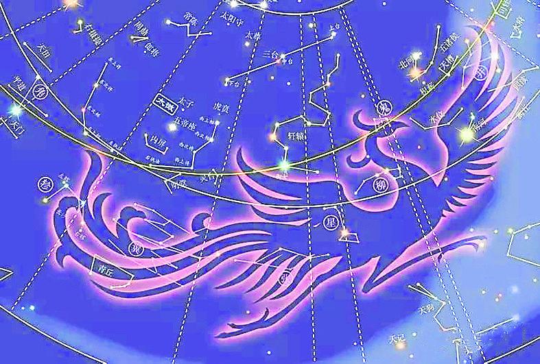 南方朱雀七宿是井、鬼、柳、星、张、翼、轸,这七个星宿又形成一个鸟的形象,春分时节在南部天空,故称南方朱雀七宿。